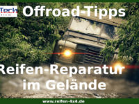Reifenreparatur am Geländewagen